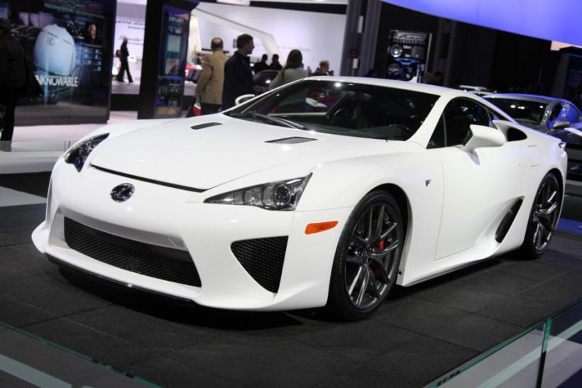 A Lexus LFA supercar seen from the front at the New York International Auto Show 2012.