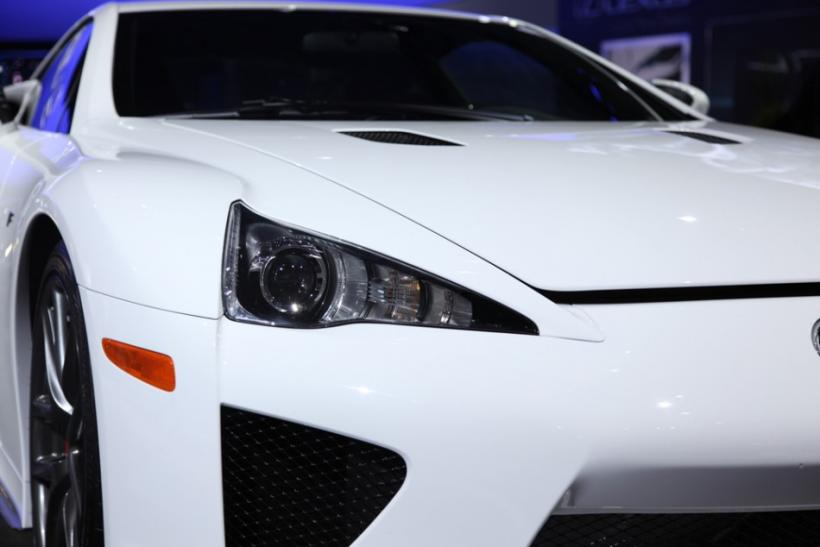 Up close and personal with the Lexus LFA supercar at the New York International Auto Show 2012.