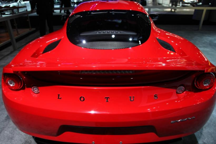 A Lotus Evora seen from behind at the New York International Auto Show 2012.