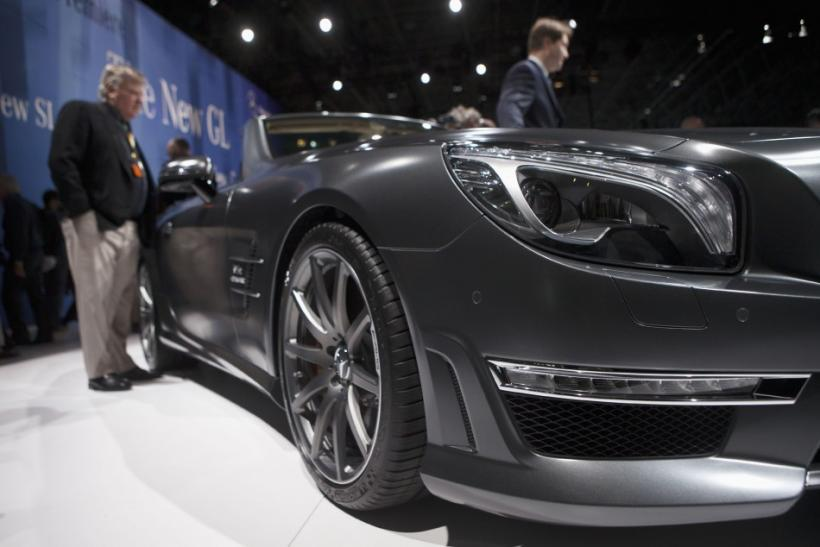 The Mercedes-Benz 2013 SL65 AMG from the front at the New York International Auto Show 2012.