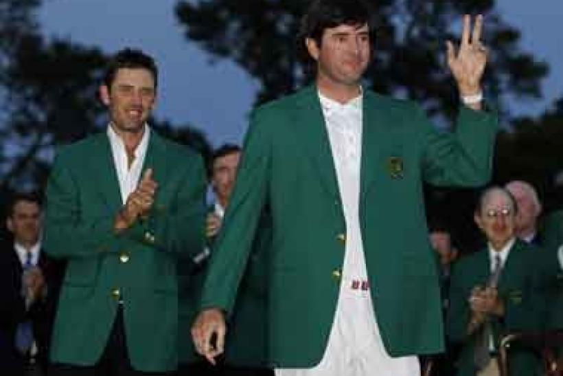 2012 Master's champion Bubba Watson greets the crowd at Augusta.