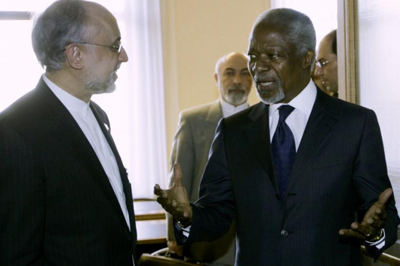 U.N. Arab League Envoy on Syria Kofi Annan and Iran's Foreign Minister Ali Akbar Salehi