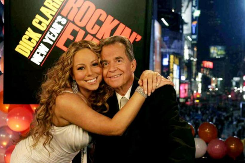 Dick Clark and Mariah Carey on a broadcast of New Years Rockin' Eve