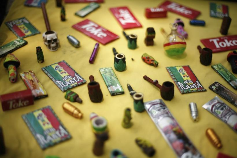 Marijuana paraphernalia is displayed during a rally to demand the legalization of marijuana in Mexico City