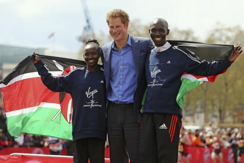 London Marathon 2012 In Pictures: Prince Harry Greets Winners At Finish Line