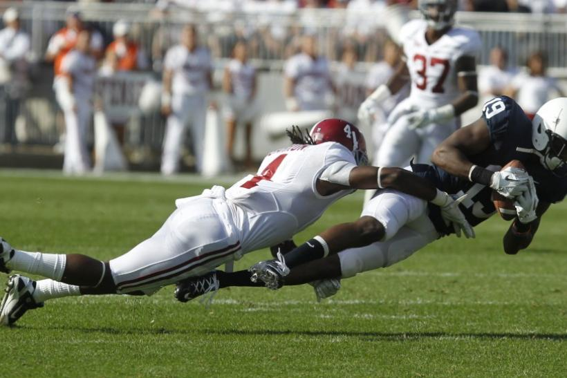 Mark Barron brings down a receiver during a game at the University of Alabama.