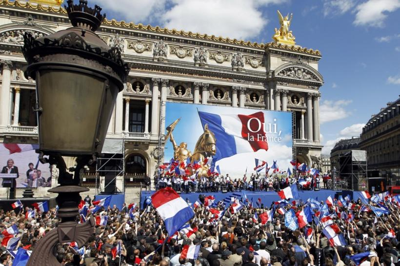 France's far right National Front political party leader Marine Le Pen delivers a speech in front of the Opera following the National Front's annual May Day rally in Paris