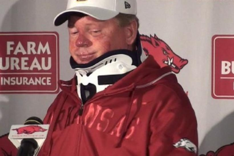 Bobby Petrino in his press conference following his motorcycle accident.