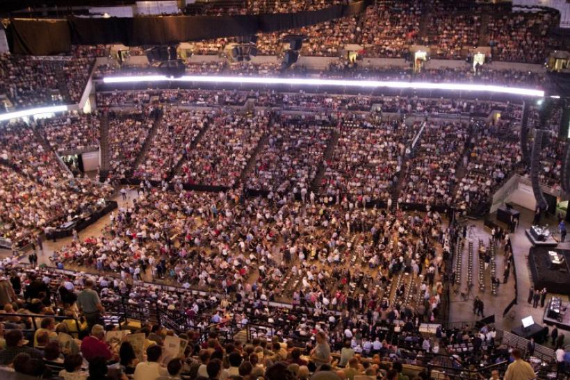 Thousands of shareholders gather in the Century Link Center arena during the Berkshire Hathaway Annual shareholders meeting in Omaha, May 5, 2012.