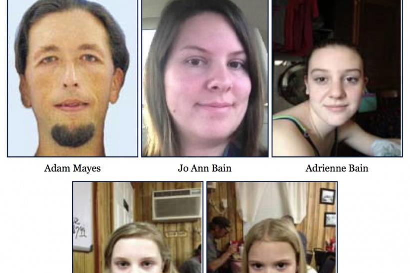 FBI pictures of suspect Adam Mayes and kidnapping victims Jo Ann Bain and her three daughters Kyliyah Bain Alexandria Bain and Adrienne Bain