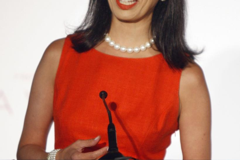 Andrea Jung, chairman and CEO of Avon Products, Inc., announces that actress Reese Witherspoon will serve as Avon's first ever Global Ambassador during a news conference in Beverly Hills, California August 1, 2007.