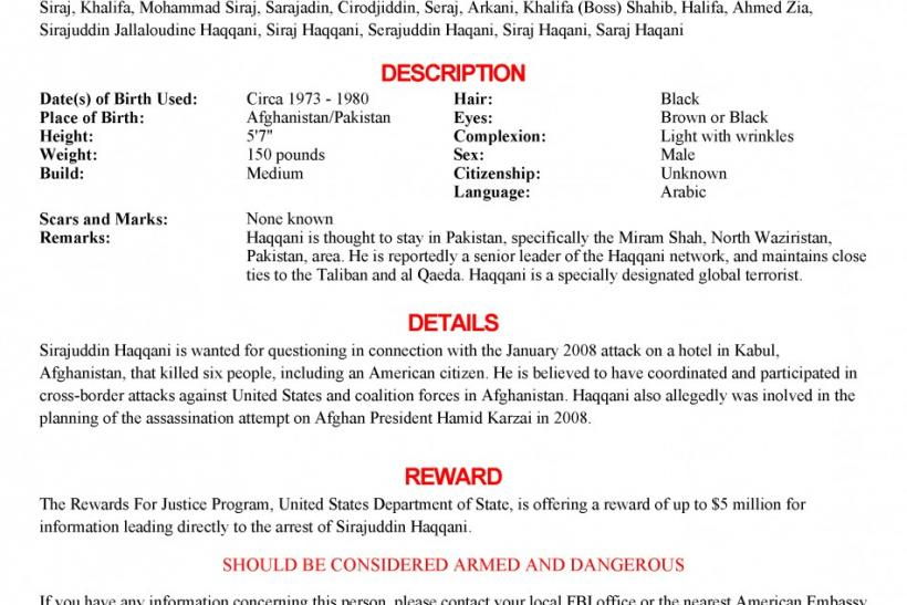 The wanted poster issued by the U.S. Federal Bureau of Investigation for Sirajuddin Haqqani.