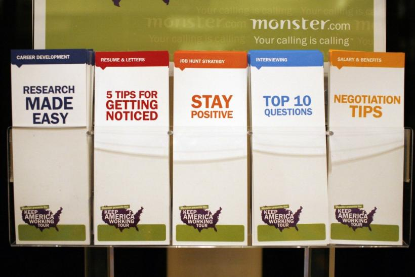 "A display of employment tips pamphlets waits for job seekers at a job fair sponsored by employment website Monster.com as part of their ""Keep America Working"" tour at a hotel in New York's Times Square, March 5, 2009."