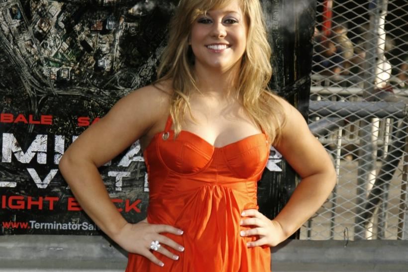 "Shawn Johnson poses at the U.S. premiere of the film ""Terminator Salvation"" in 2009"