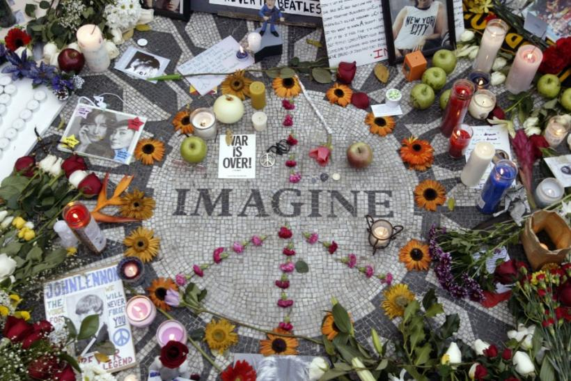 Memorabilia lie on circle with the word Imagine on it to honor deceased John Lennon in Central Park's Strawberry Fields in New York December 8, 2005.