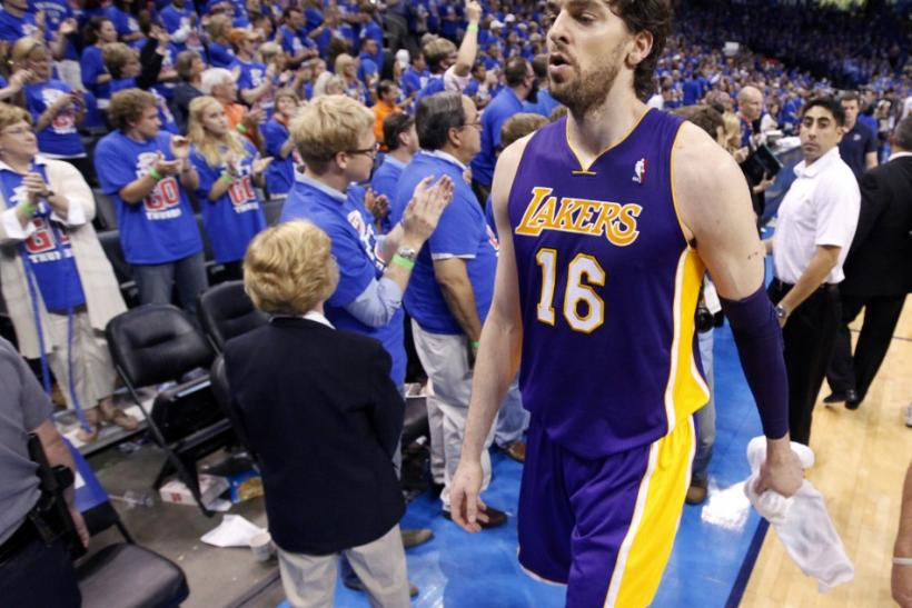 Pau Gasol walks off the court after the Thunder eliminate the Lakers from the playoffs