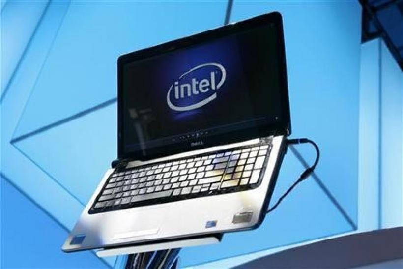 A laptop displays the Intel logo at the 2010 International Consumer Electronics Show (CES) in Las Vegas, Nevada January 7, 2010.