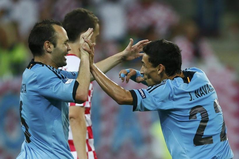 Jesus Navas and Andres Iniesta