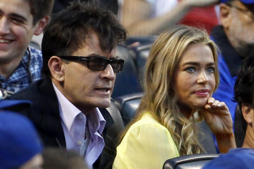 Charlie Sheen and Denise Richards at the Mets/Yankee game