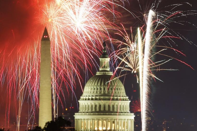 Fireworks over the U.S. Capitol and Washington Monument.