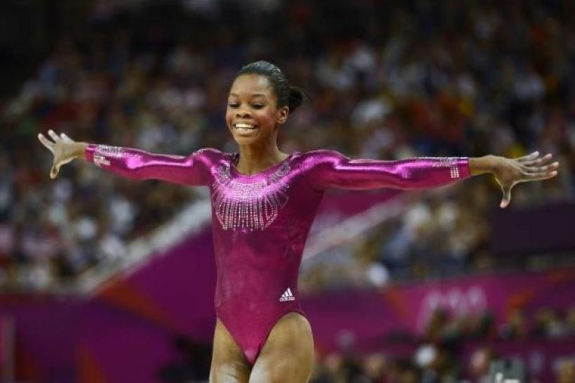 Gabby Douglas performing at the London Olympics 2012