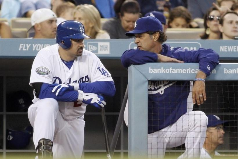 Adrian Gonzalez hit a home run in his first at-bat with the Dodgers.