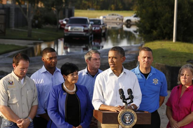 U.S. President Barack Obama tours Hurricane Isaac damage and recovery while in Louisiana
