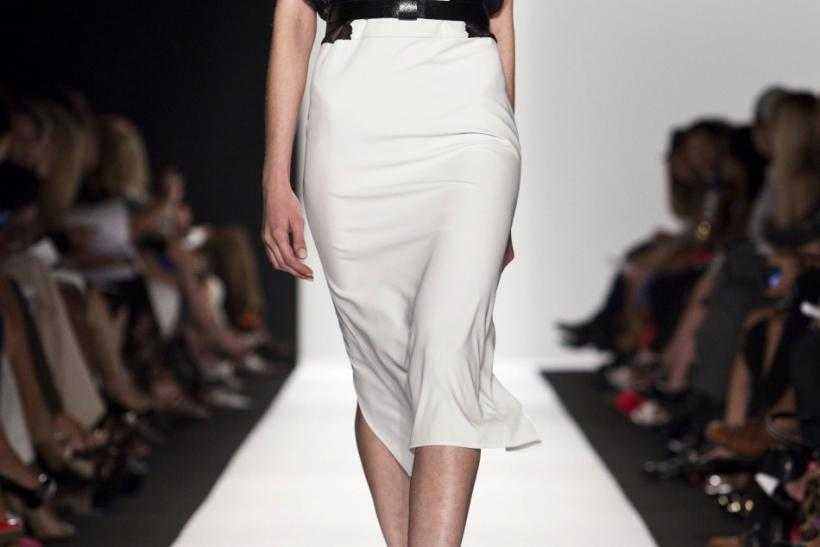 A model presents a creation from the BCBGMAXAZRIA Spring 2013 collection during New York Fashion Week on September 6, 2012.