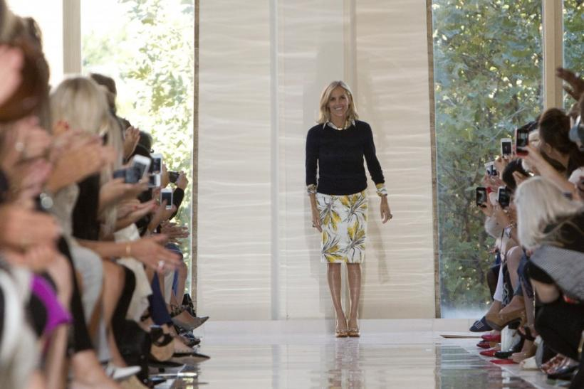 Tory Burch bows after her Spring 2013 collection show at Mercedes-Benz Fashion Week in New York