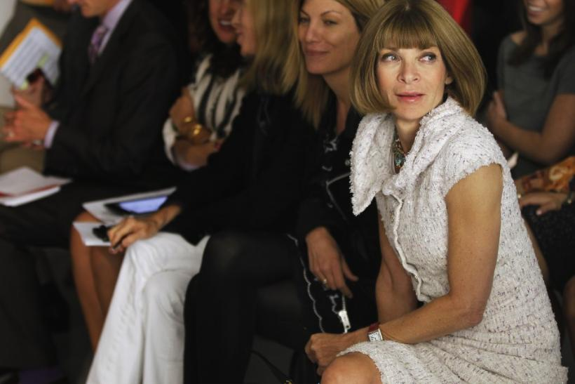 Vogue Editor Anna Wintour sits in the crowd before the Rodarte Spring/Summer 2013 collection during New York Fashion Week September 11, 2012.
