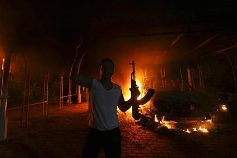Man outside burning US Embassy in Libya