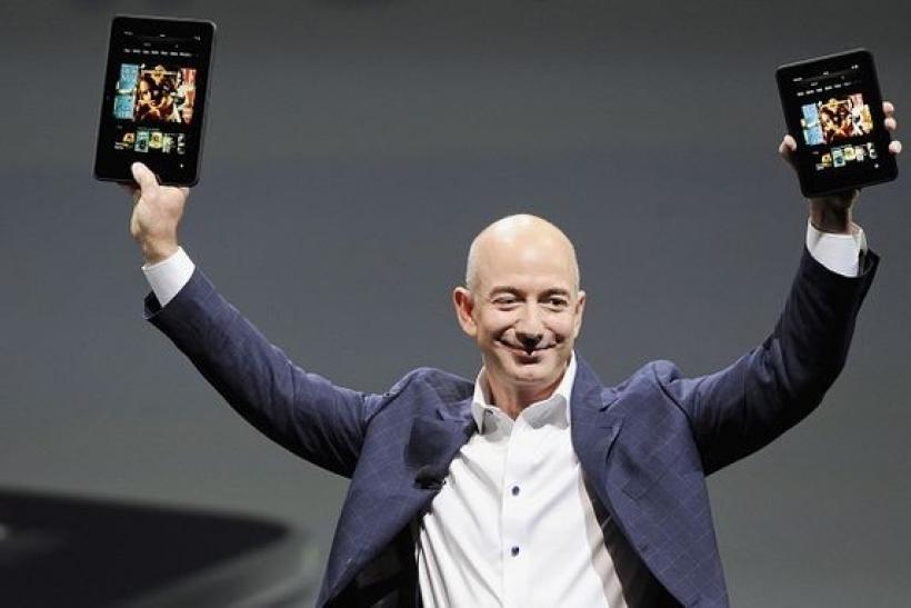 Bezos With Kindle Fires