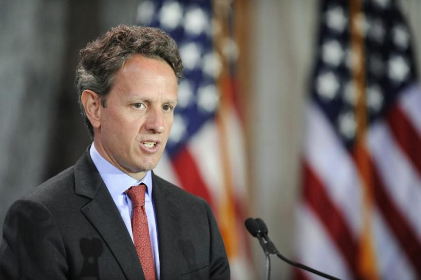 U.S. Treasury Secretary Timothy Geithner makes opening remarks at the Women in Finance Symposium at the Treasury Department in Washington