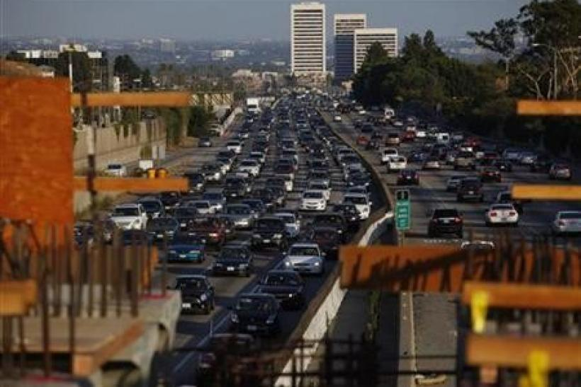 Traffic moves slowly on the 405 freeway in Los Angeles, California