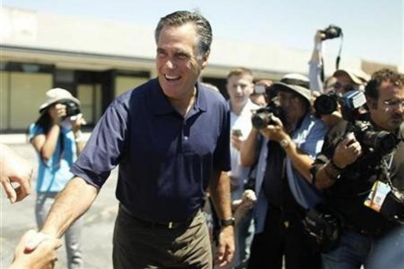 Republican presidential candidate and former Massachusetts Governor Mitt Romney greets voters during a campaign stop in Los Angeles, California