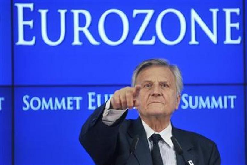 ECB President Trichet addresses a news conference at the end of an euro zone leaders crisis summit in Brussels