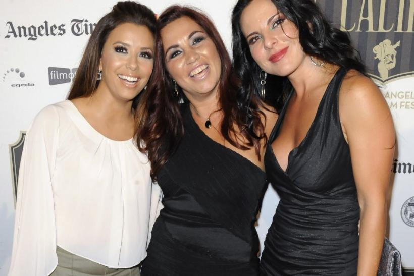"(L-R) Actress Eva Longoria, Argentinian director Gabriela Tagliavini and Mexican actress Kate Del Castillo arrive at the 2011 Los Angeles Latino International Film Festival special screening of ""Without Men"" during the Maya Indie film series in"