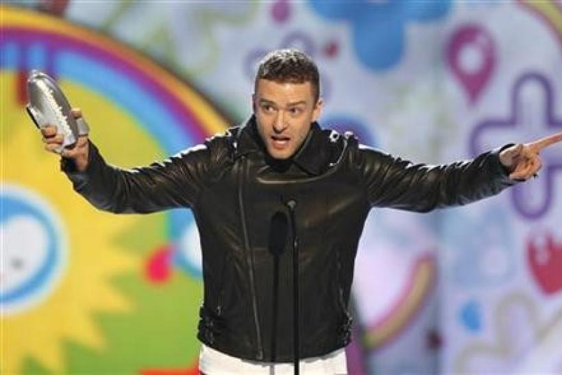 Justin Timberlake accepts the Big Help award at the 24th annual Nickelodeon Kids' Choice Awards in Los Angeles