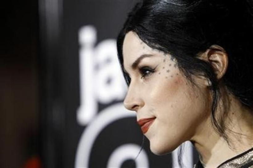 Tattoo artist Kat Von D poses at the premiere of ''Jackass 3D''