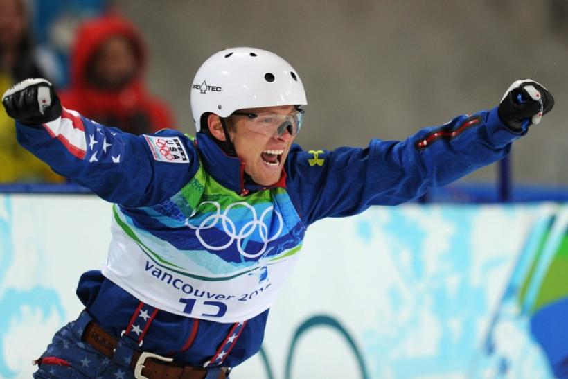 Jeret Peterson of the United States celebrates in the finish area after his second jump in the men's aerials freestyle skiing final on Cypress Mountain at the Vancouver 2010 Winter Olympics, February 25, 2010