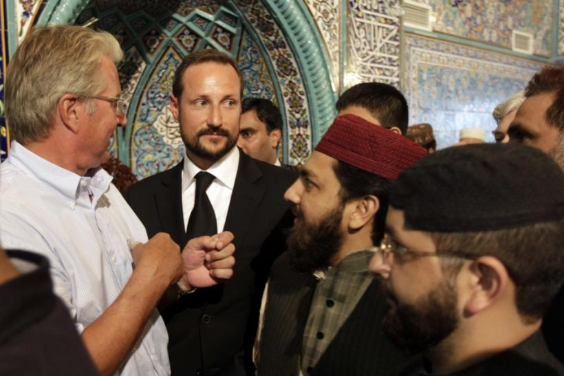 Norway's Crown Prince Haakon leaves the World Islamic Mission Mosque in Oslo