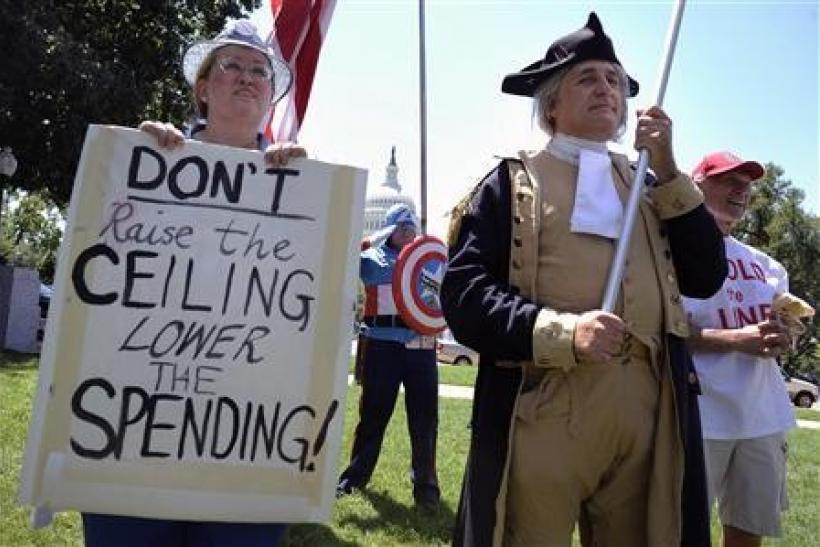 Dozens of Tea Party supporters, including one dressed as Captain America