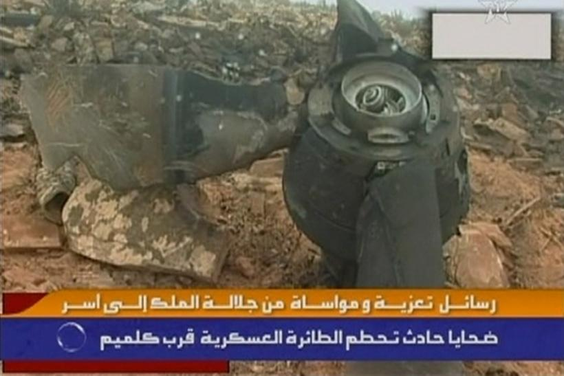 Still image from video shows the wreckage of a Hercules C-130 aircraft after it crashed while trying to land in Guelmim