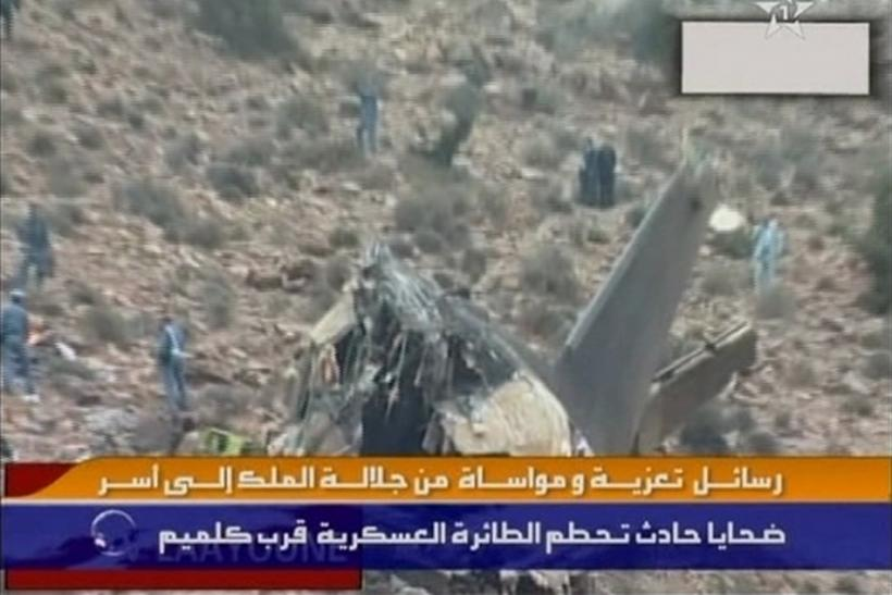Still image from video shows parts of the wreckage of a Hercules C-130 aircraft after it crashed while trying to land in Guelmim