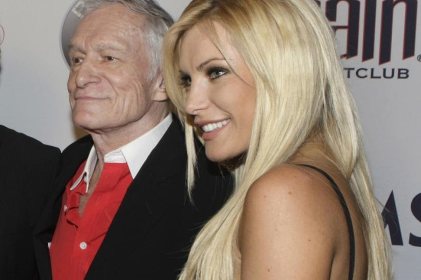 Playboy founder Hugh Hefner with his former fiancé Crystal Harris