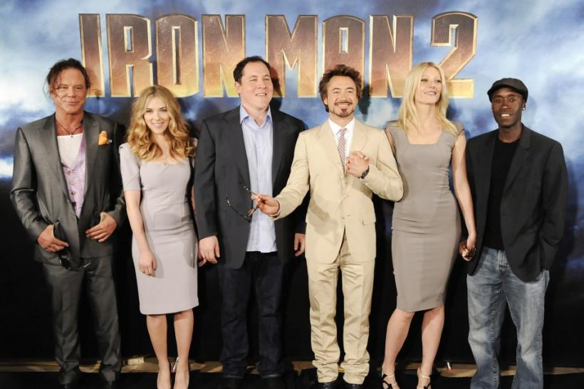 (L-R) Cast members pose during a photocall for the movie Iron Man 2 in Los Angeles, California