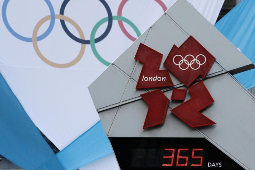 The countdown clock shows 365 day to go during the London 2012 Olympic Games one year countdown event at Trafalgar Square in London