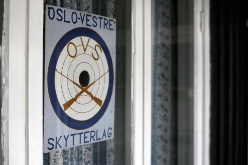 "A sign reading ""Oslo West Shooting Club"" is seen at the Skytterkollen shooting range where Norwegian gunman Anders Behring Breivik used to train at rifle and handgun ranges in Eidsmarka village near Oslo"
