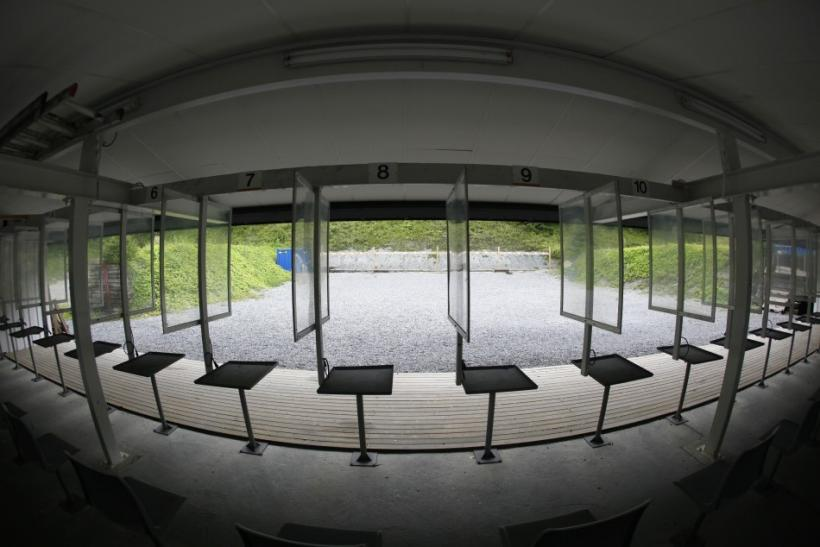 A general view from the interior of the closed Skytterkollen handgun shooting range where Norwegian gunman Anders Behring Breivik used to train in Eidsmarka village near Oslo