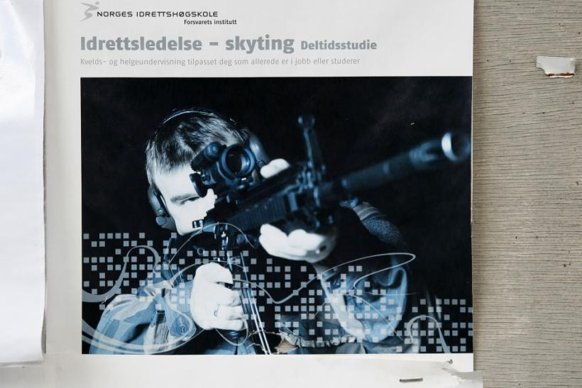A picture is seen on a wall at the closed Skytterkollen shooting range where Norwegian gunman Anders Behring Breivik used to train in Eidsmarka village near Oslo
